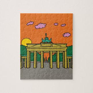 Puesta del sol en la puerta de Brandeburgo en Puzzle