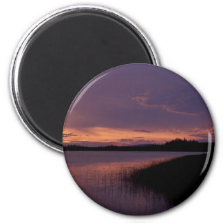 Puesta del sol en la reserva Alaska de Innoko Imán De Frigorifico