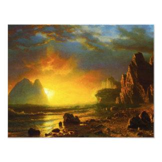 Puesta del sol en las invitaciones de la costa de invitación 10,8 x 13,9 cm