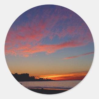 Puesta del sol en las orillas de La Jolla Etiqueta