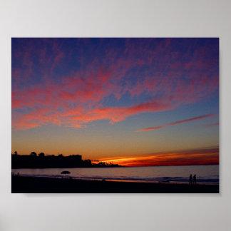 Puesta del sol en las orillas de La Jolla Póster