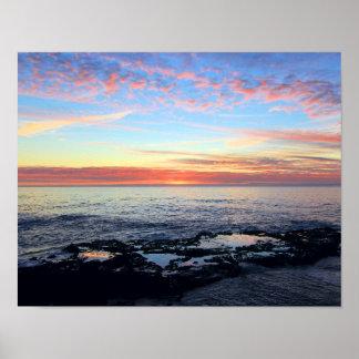 Puesta del sol en las piscinas de la marea póster