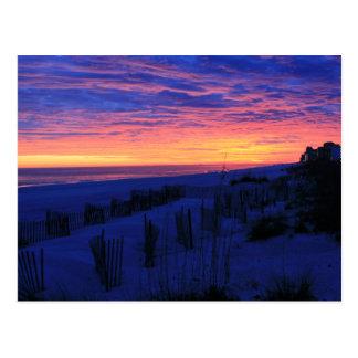 Puesta del sol en las playas de Alabama Postal