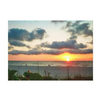 Puesta del sol en llave de la arena impresiones de lienzo