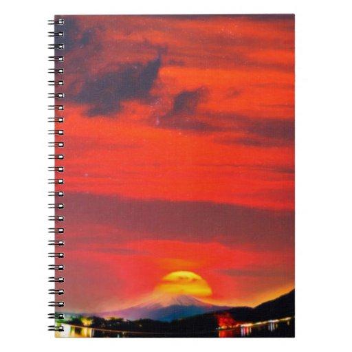puesta del sol en los creyones místicos del monte  libros de apuntes con espiral