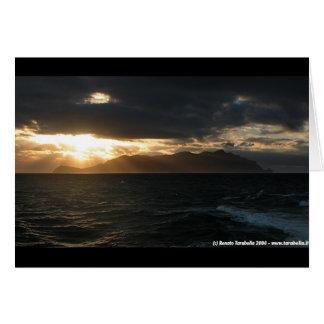 Puesta del sol en Marettimo Tarjeta De Felicitación