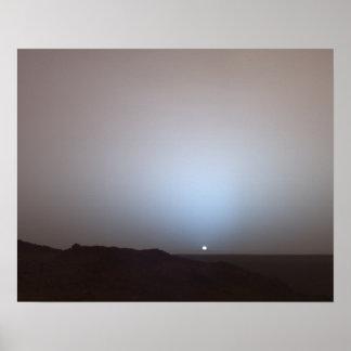 Puesta del sol en Marte tomado del vagabundo de Póster