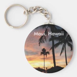 Puesta del sol en Maui, Hawaii Llavero Redondo Tipo Pin