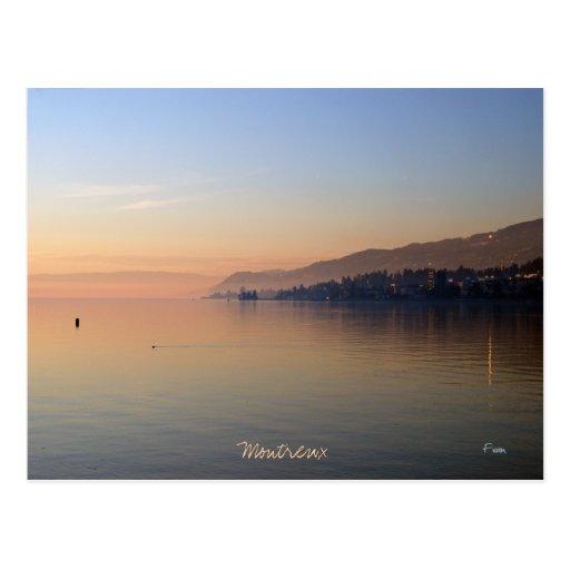 puesta del sol en Montreux Postal