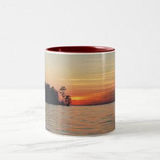 puesta del sol en moultrie del lago taza de café de dos colores