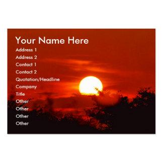 Puesta del sol en paraíso tarjetas de visita grandes