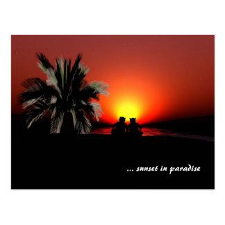 Puesta del sol en paraíso tarjetas postales