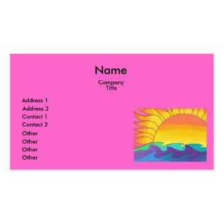 Puesta del sol en plantilla rosada de la tarjeta d tarjetas de visita
