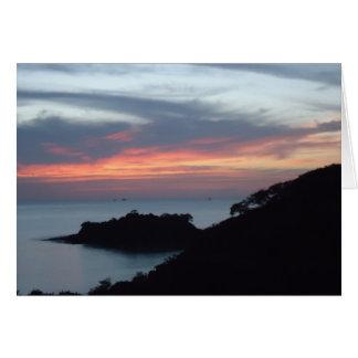 Puesta del sol en Playa Potrero, Costa Rica Tarjeta Pequeña