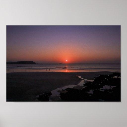 Puesta del sol en Polzeath Póster