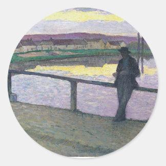Puesta del sol en Pont-Aven - Enrique Lebasque Pegatina Redonda