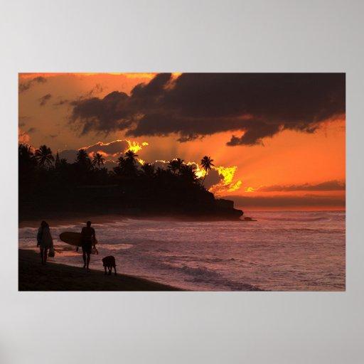 Puesta del sol en Rincon, Puerto Rico Póster
