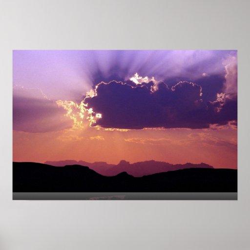 Puesta del sol en Rio Grande, parque nacional de Póster
