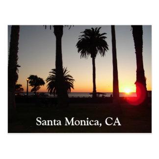 Puesta del sol en Santa Mónica, CA Tarjeta Postal