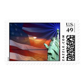 Puesta del sol en sello de la libertad