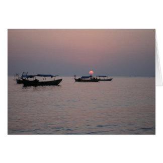 Puesta del sol en Sihanoukville, Camboya Tarjeta Pequeña