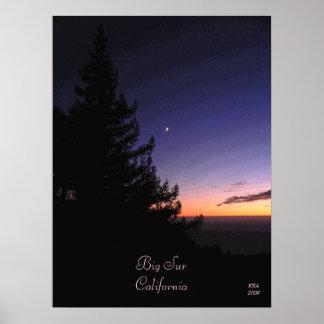 Puesta del sol en Sur grande por las fotos y el di Posters