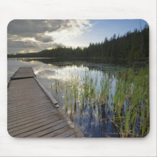 Puesta del sol en un pequeño lago mouse pad