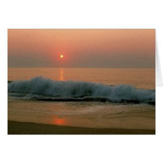 Puesta del sol en una playa del N. Carolina Tarjeta Pequeña