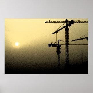 Puesta del sol en una tempestad de arena en Qatar  Póster