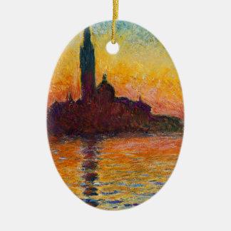 Puesta del sol en Venecia, Claude Monet Adorno Ovalado De Cerámica