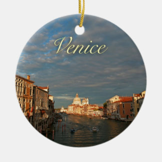 Puesta del sol en Venecia Italia Adorno Navideño Redondo De Cerámica