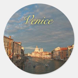Puesta del sol en Venecia Italia Pegatinas Redondas