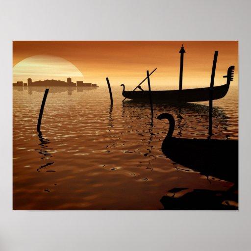 Puesta del sol en Venecia Póster