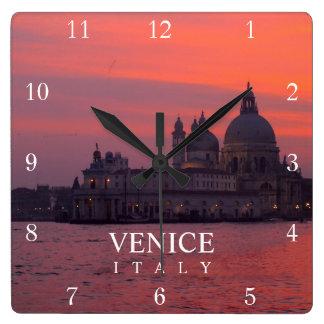 Puesta del sol en Venecia Reloj Cuadrado