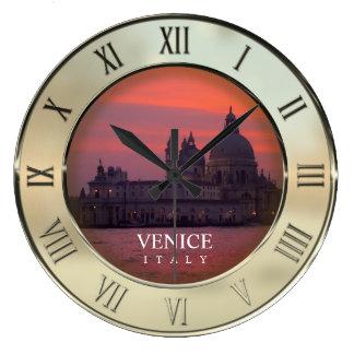 Puesta del sol en Venecia Reloj Redondo Grande