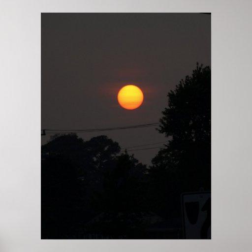 Puesta del sol en Virginia Beach, VA. Póster