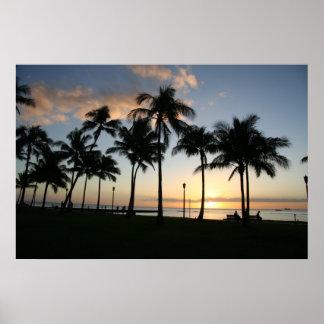 Puesta del sol en Waikiki - poster