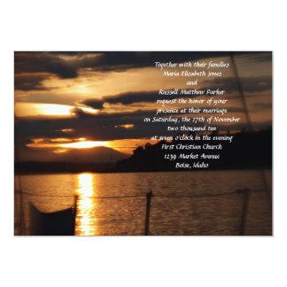 """Puesta del sol encendido en un boda del barco de invitación 5"""" x 7"""""""