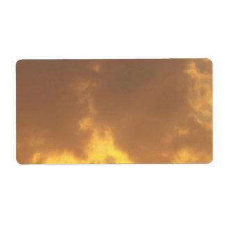 Puesta del sol etiqueta de envío