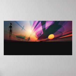Puesta del sol extranjera póster