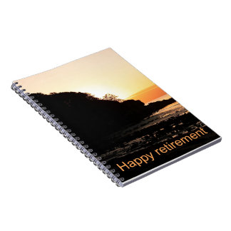Puesta del sol feliz del retiro en Escocia Libro De Apuntes Con Espiral