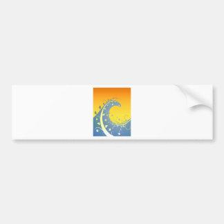 Puesta del sol floral de la onda etiqueta de parachoque