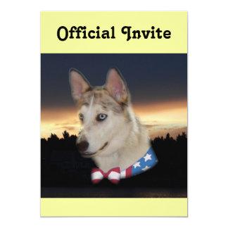"""Puesta del sol fornida patriótica del perro invitación 5"""" x 7"""""""