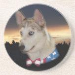 Puesta del sol fornida patriótica del perro posavasos cerveza