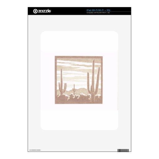 Puesta del sol gigante del cactus skin para el iPad