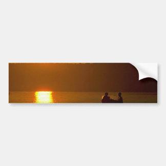 Puesta del sol griega sobre el mar pegatina para auto