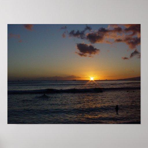 Puesta del sol hawaiana 4 posters