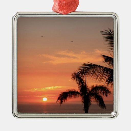Puesta del sol hawaiana anaranjada, pájaros y palm adornos