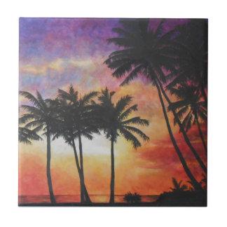 """""""Puesta del sol hawaiana """" Teja Ceramica"""