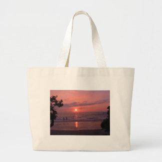 Puesta del sol hawaiana bolsa tela grande